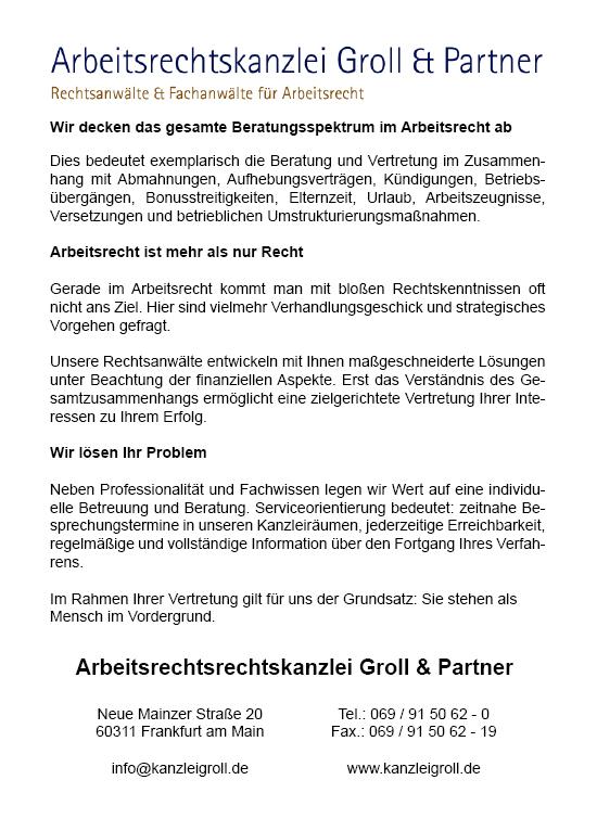 Rechtsanwalt Arbeitsrecht Frankfurt Arbeitsrechtskanzlei Groll & Partner