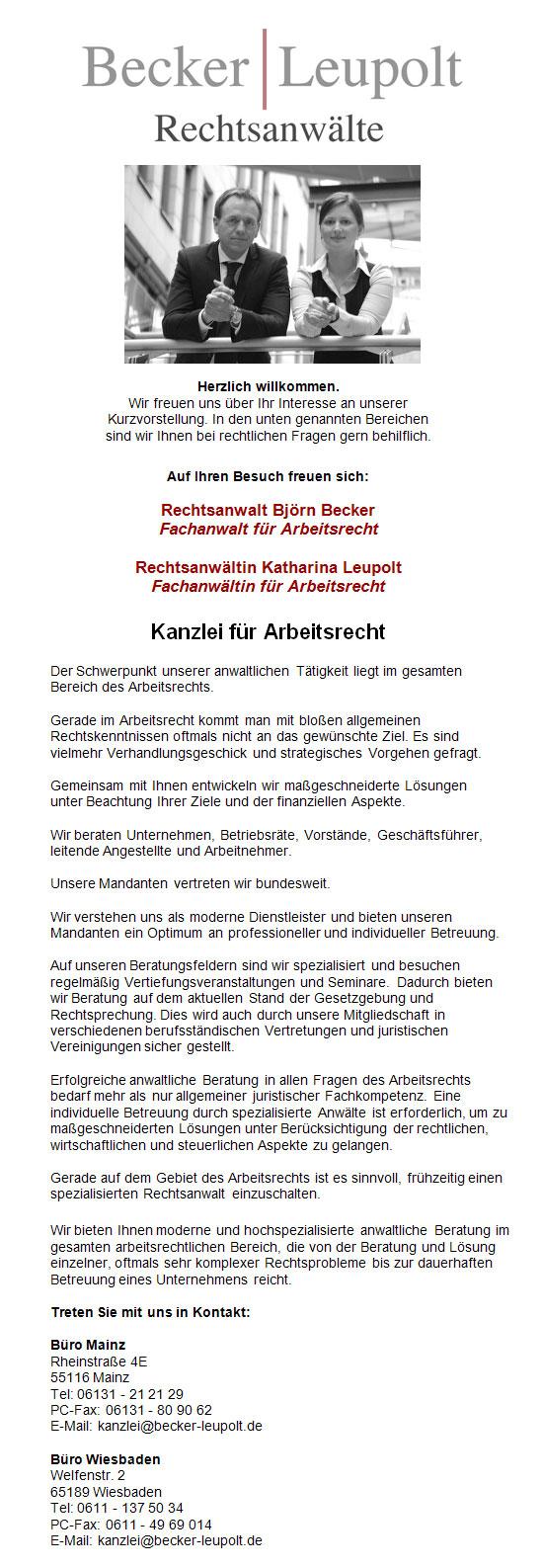 Rechtsanwalt Arbeitsrecht Mainz Anwaltskanzlei Becker und Leupolt