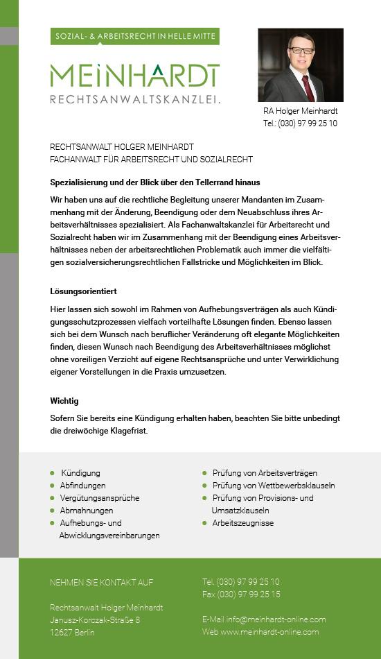 Rechtsanwalt Arbeitsrecht Berlin Meinhardt Rechtsanwaltskanzlei