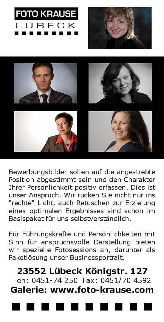 Fotograf für professionelle Bewerbungsfotos in Lübeck Foto Krause